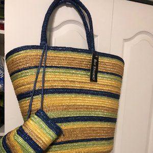 Bay Studio X- Large Straw Bag + 2 side-kick Bags